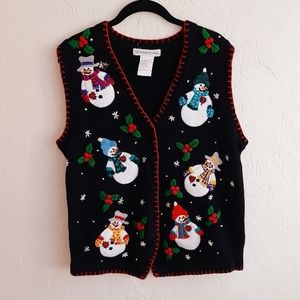 Vintage Ugly Winter Embroidered Sweater Vest M